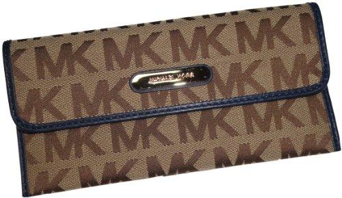 Michael Kors Austin Flat Continental Signature Wallet Beige/Ebony/Navy