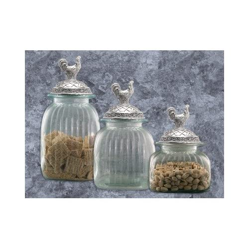 amazon com clear glass kitchen canister set pewter