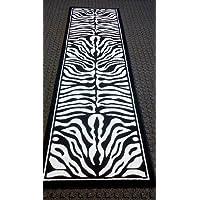 Zebra Black & White Area Rug Runner 32 In. X 10 Ft. Design #132