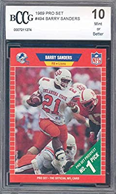 1989 pro set #494 BARRY SANDERS detroit lions rookie card BGS BCCG 10 graded card