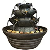 Sunnydaze Three Tier Cascading Tabletop Fountain w/ LED Lights, 9 Inch Tall