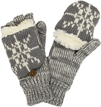 Muk Luks Women's Classic Flip Mittens With Faux Fur, Grey/Ivory, One Size