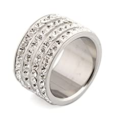 buy Stunning White Gold 4 Rows Round Cubic Zirconia Cz Wedding Stainless Steel Band Ring ,Size Us 5.5-9(5.5)