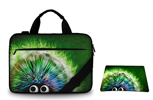 silent-monsters-laptop-bag-case-156-inch-made-of-canvas-with-mousepad-design-green-hedgehog