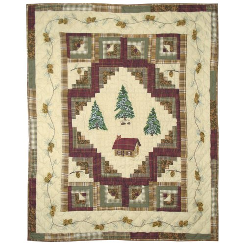 Patch Magic 50-Inch by 60-Inch Forest Log Cabin Throw