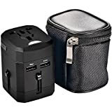 eBoot US UK EU AU Adaptateur Chargeur Universel de Voyage International (Max 1380W) avec 2 USB Ports 2.5A, Noir (Pas de Conversion de Tension)