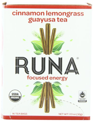 Runa Focused Energy Cinnamon Lemongrass Guayusa Tea, 16-Count Tea Bags