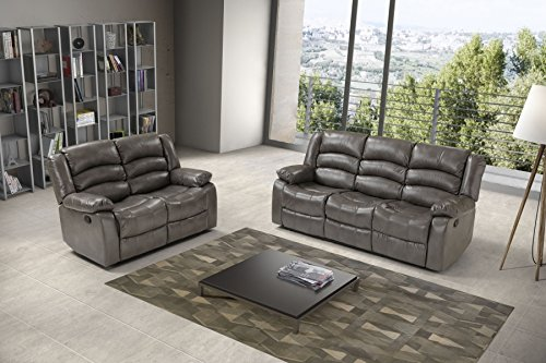 Cod.00774609 - Divano Paris 3 posti con recliner in similpelle grey