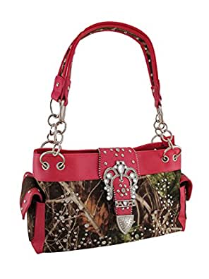 Camouflage Studded Rhinestone Buckle Purse Hot Pink