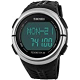 Men's Waterproof Outdoor Sports Pedometer 3D Heart Rate Electronic Watch Black