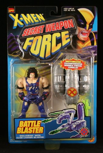 "x-Men Secret Weapon Force: Battle Blaster: 5 1/4"" Wolverine Poseable Action Figure with Claw Cannon Blaster - 1"