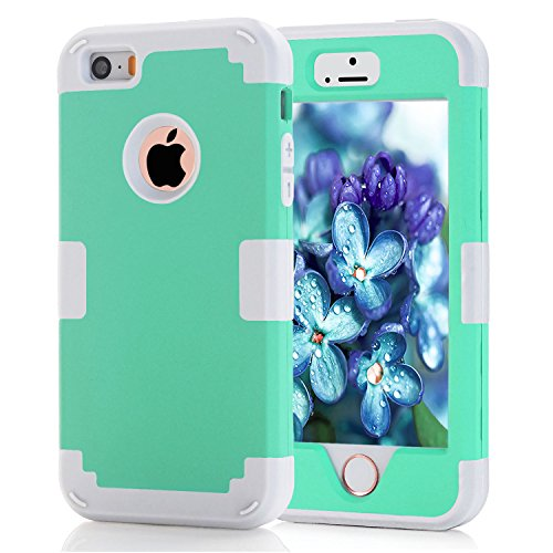 iPhone 5S Case, KAMII 3 Layers Verge Hybrid Soft Silicone Hard Plastic Triple Quakeproof Drop Resistance Protective Case Cover for iPhone 5/5S (Aqua Grey) (Marvel Silicone Iphone 5s Case compare prices)