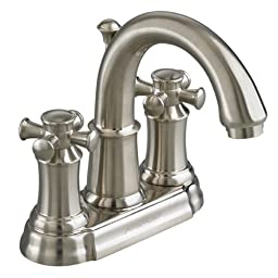American Standard 7420.221.295 Portsmouth Centerset Lavatory Faucet with Speed Connect Drain with Cross Handles, Crescent Spout, Satin Nickel