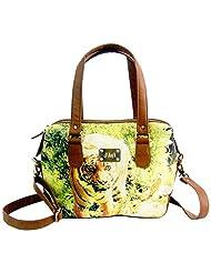 Jajv Women's Canvas & Non Leather Sling Bag (Light Brown)