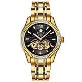 BINLUN Waterproof Automatic Men's Watch 18K Gold-Plated Luminous Black Skeleton Dial (Color: Gold-black)