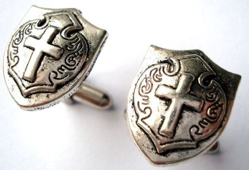 Cross and Shield Pewter Cufflinks