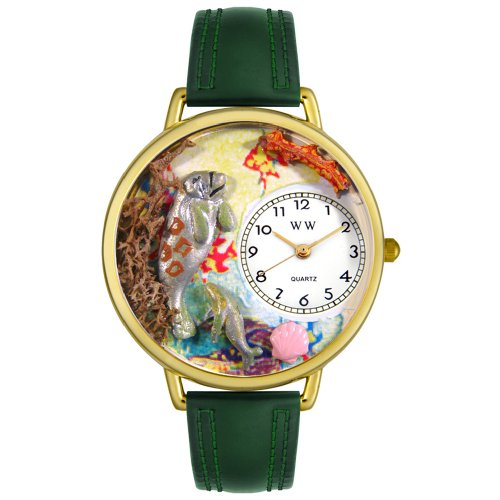 Whimsical Watches Unisex G0140002 Manatee Hunter Green Leather Watch