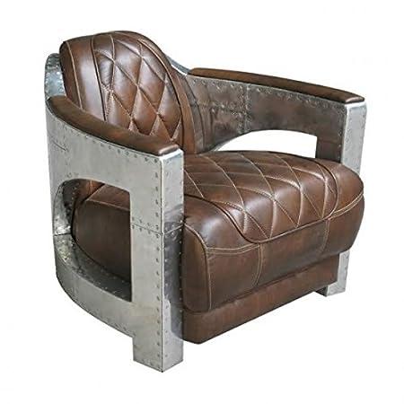Casa Padrino Echt Leder Art Deco Aluminium Sessel Braun - Club Sessel - Lounge Sessel - Aluminium Möbel