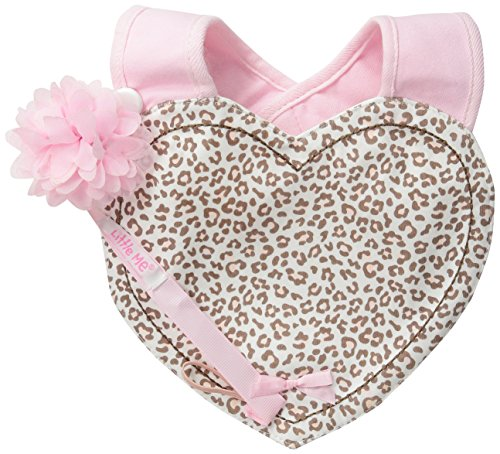 Little Me Baby Girls' Leopard Heart Bib and Pacifier Holder, Pink, 0-12 Months