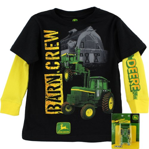 John Deere Boys Black T-Shirt With Toy Tractor (7)
