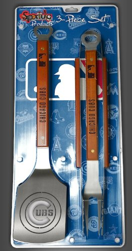 Chicago Cubs 3-piece Set Sportula Set Grilling Tailgating Tools MLB Spatula