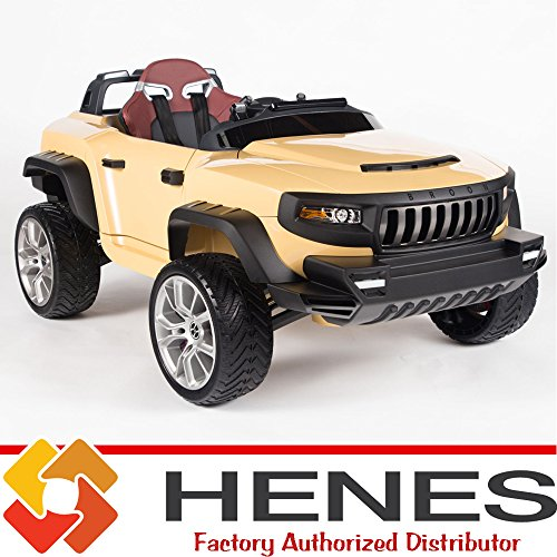 Henes-Broon-T870-Kids-Ride-On-Jeep-24V-Power-with-Rubber-Wheels-Tablet-PC-Remote-Desert-Brown