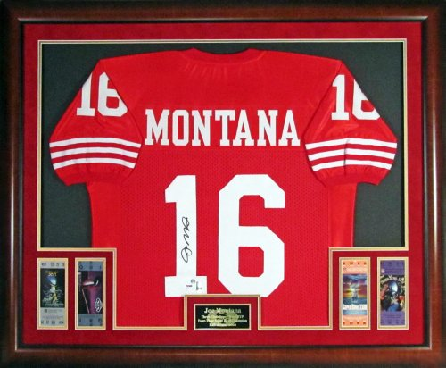 Joe Montana Autographed SF 49ers Jersey Framed w/Replica Super Bowl Tickets (Horizontal) at Amazon.com