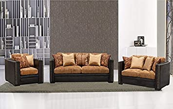 Sofa Loveseat Chair Modern 3 Pcs Sofa Set Caramel /Espresso Color Made in Fabric /Faux Leather Nailheads Living