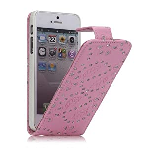 Ledertasche Business Case Cover Apple iPhone 5 5S Etui Flip Leder Glitzer shiny chic Fashion Blink Strass pink Blumen Blumenmuster