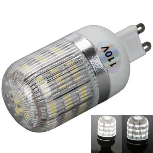 110V 3W 200Lm 48Led 6000K White Light Led Corn Light Bulb Lamp With Silver Side Stripes Cover (G9)
