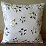 Floral Lake - Decorative Pillow Covers - White Cotton Canvas Pillow Cover with Mirror Embroidery