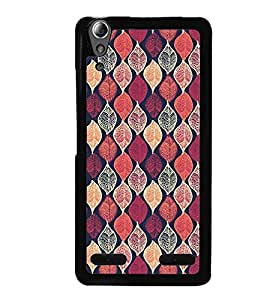 Printvisa Pink Assorted Leaves Pattern Back Case Cover for Lenovo A6000