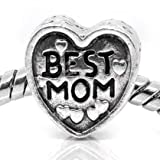 """ Love Best MOM Heart "" Antiqued Silver Bead Charm Spacer Pandora Troll Chamilia Biagi Bead Compatible"
