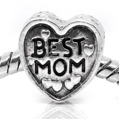&quot; Love Best MOM Heart &quot; Antiqued Silver Bead Charm Spacer Pandora Troll Chamilia Biagi Bead Compatible