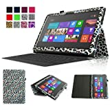Fintie Folio Case for Microsoft Surface RT / Surface 2 10.6 inch Tablet Slim Fit with Stylus Holder (Does Not Fit Windows 8 Pro Version) - Leopard Rainbow