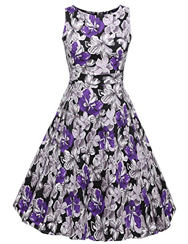 ACEVOG Vintage 1950's Floral Spring Garden Party Picnic Dress Party Cocktail Dress (S, Gradient Purple)