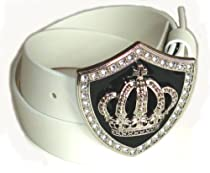 BeltsandStuds Man Women White snap on belt with Crystal Crown buckle M 34 White