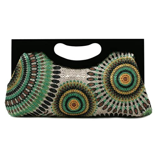 Scarleton Wood Framed Embroidered Clutch H300113 - Green