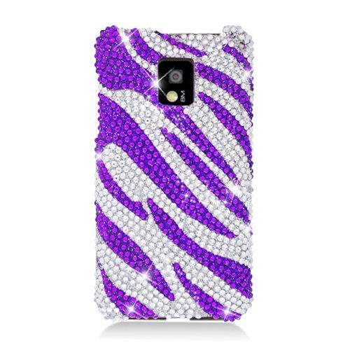 Eagle Cell Pdlgg2Xf326 Ringbling Brilliant Diamond Case For Lg G2X/Optimus 2X - Retail Packaging - Purple Zebra