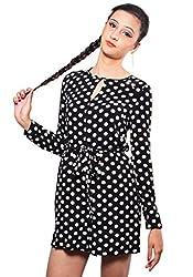 The Style Aisle Women's Tie-Waist Playsuit (TSA11_Black White_Medium)