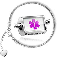 Charm Set Medical Alert Purple Hospital Logo - Bead comes with Bracelet , Neonblond from NEONBLOND