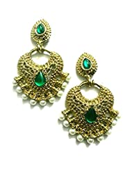 Ethnic Fashion Earrings With Pearl And Coloured Crystals In Golden Finish, Green
