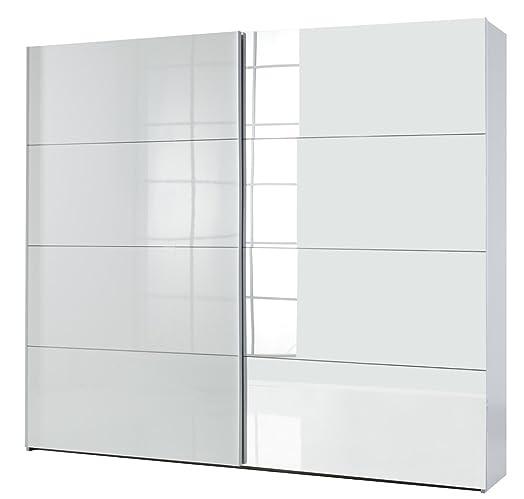 Armadio 2 ante scorrevoli 1 laccata bianca e 1 a specchio