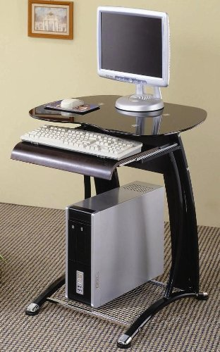 Buy Low Price Comfortable Dacoma Metal Chrome and Rich Black Computer Desk (B003XOVVN0)