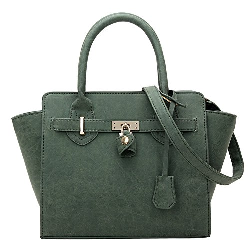koson-man-womens-classical-fashionable-leather-pure-color-sweet-tote-bags-shoulder-bagsgreen