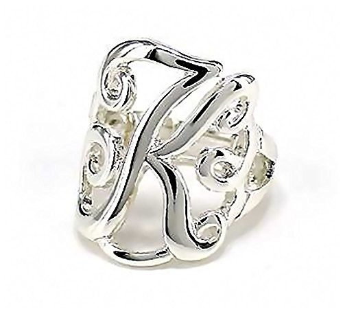 Silvertone Initial Letter K Stretch Ring (Initials Ring compare prices)