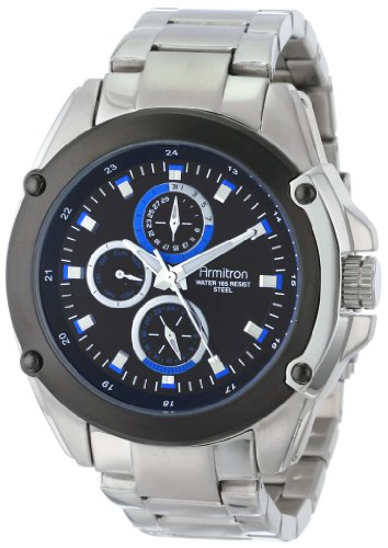 Armitron Men's 20/4881BLSV Multi-Function Silver-Tone Stainless Steel Blue Dial Bracelet Watch