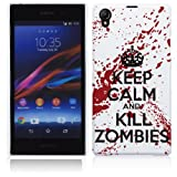 Sony Xperia Z1 Hard Plastic (PC) Case - Keep Calm and Kill Zombies Red/White Cover