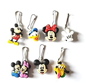 7 pcs Mickey Friends # 2 Zipper Pull Charms for Jacket Backpack Bag Pendant by Hermes