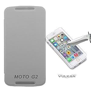 Vulkan Flip Cover Case for Motorola Moto G (2nd Gen) (White) + Tempered Glass Screen Protector Combo